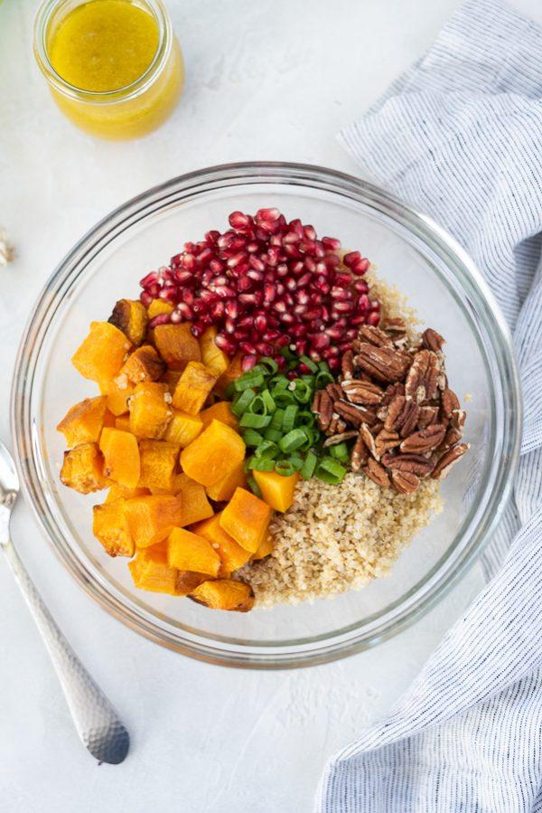 butternut squash quinoa salad process shot