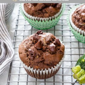 Chocolate Zucchini Muffins are healthier double chocolate whole grain muffins packed with zucchini and big chocolate flavor!