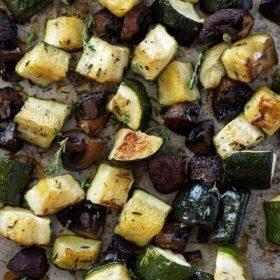 Roasted zucchini and mushrooms pinterest pin 2
