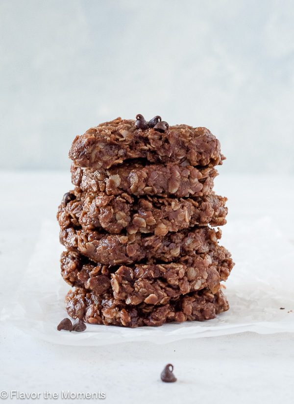 Stack of No Bake Chocolate Peanut Butter Oatmeal Cookies