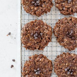 No Bake Chocolate Peanut Butter Oatmeal Cookies on a wire rack