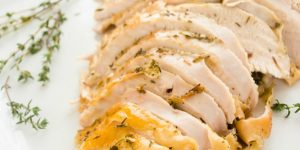 Simple Herb and Garlic Roasted Turkey Breast is the perfect way to get delicious roasted turkey in about one hour without the fuss!