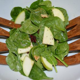 Spinach Salad with Apples, Cranberries, and Walnuts