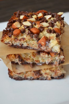 Stack of almond joy bars on a plate