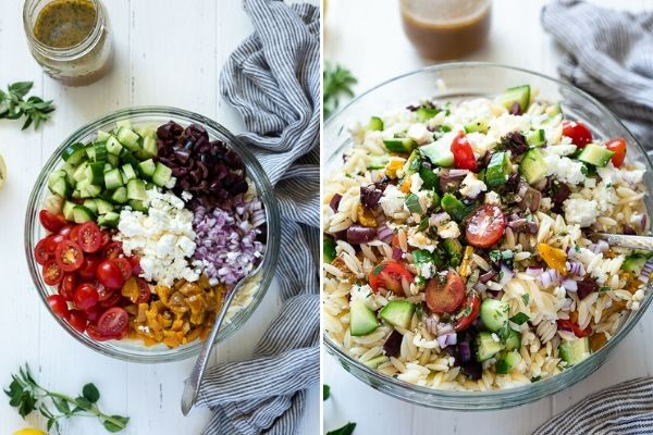 Greek orzo salad before and after tossing