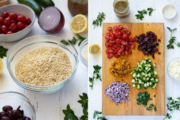 Greek orzo salad ingredients collage