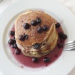 Greek Yogurt Pancakes with Blueberry Maple Syrup