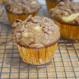 Coffee Cake Carrot Muffins with Cream Cheese Filling