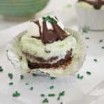 Thin Mint Ice Cream Brownie Cupcakes