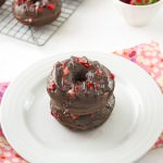 Strawberry Covered Baked Chocolate Donuts