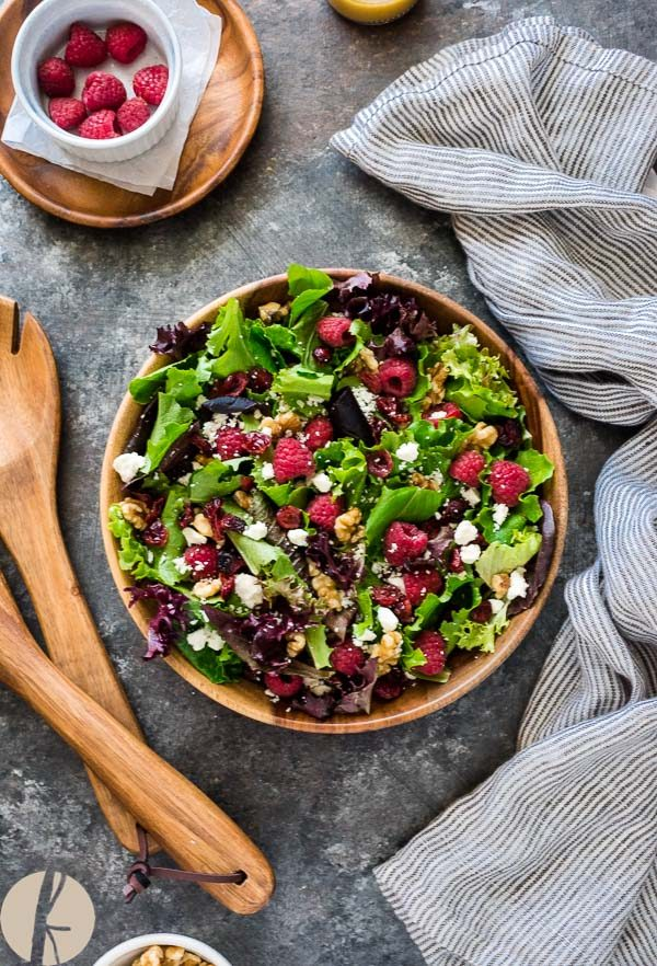 Baby Lettuce Salad with Raspberries, Cranberries and Feta is baby lettuce with raspberries, cranberries, walnuts and feta tossed in a red wine vinaigrette! #salad #raspberry #cranberry #feta #walnuts #glutenfree #vegetarian #healthy #lowcarb