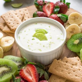 Fresh Key Lime Greek Yogurt Dip is a creamy Greek yogurt dip bursting with fresh key lime flavor.  It's a wholesome appetizer or snack!