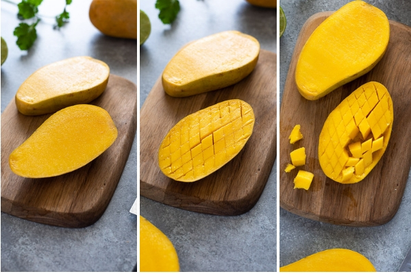 how to cut a mango process collage