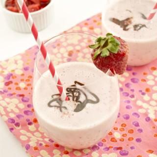 Roasted Strawberry Milkshakes with Nutella Espresso Ganache