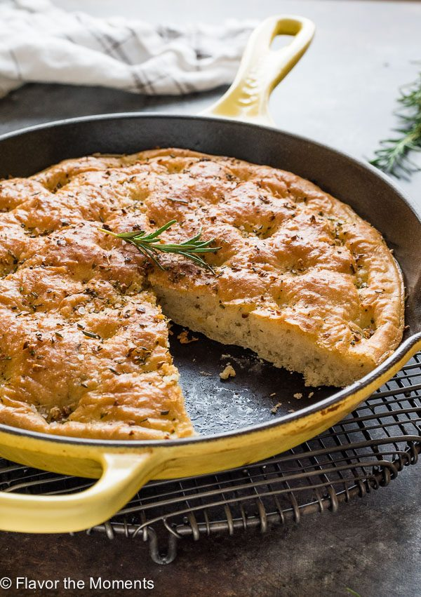 skillet with one slice of one hour focaccia missing