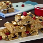 Mixed Berry Biscoff White Chocolate Blondies