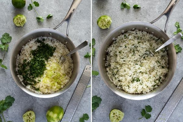 cilantro lime rice before and after mixing in the cilantro and lime
