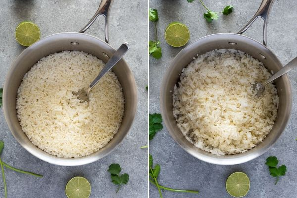 cilantro lime rice before and after fluffing