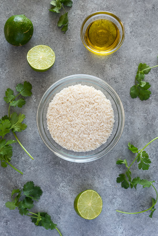 overhead shot of cilantro lime rice recipe ingredients