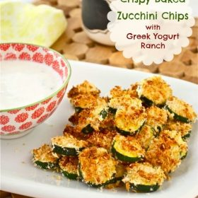 Crispy Baked Zucchini Chips with Greek Yogurt Ranch are golden brown oven-baked zucchini chips served with a homemade, no mayo Greek yogurt ranch dressing!