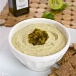 Cilantro Lime White Bean Hummus with Roasted Jalapeno