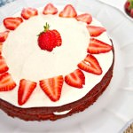 strawberries & cream red velvet cake