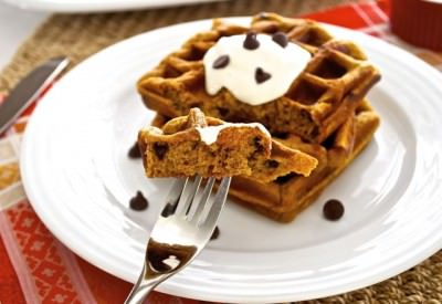 Pumpkin Graham Waffles with Chocolate Chips
