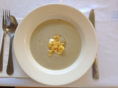 celery root chestnut soup with pickled quince