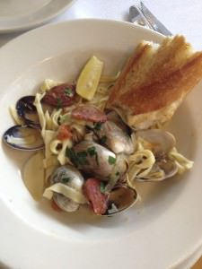 clams and chorizo with linguine