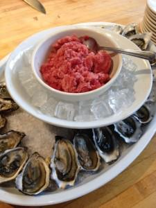 oysters with pomegranite granita