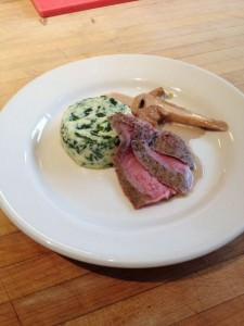 veal chops with chantrelles and spinach timbale