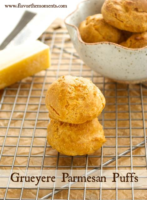 Gougeres stacked on wire rack