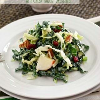 Kale and Napa Cabbage Salad with Greek Yogurt Dressing