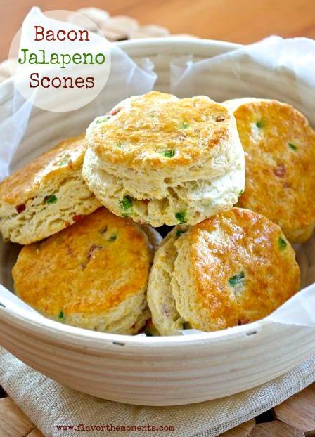 Bacon scones in a basket