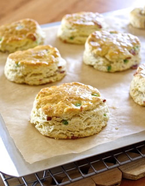 Close up of bacon scone on baking sheet