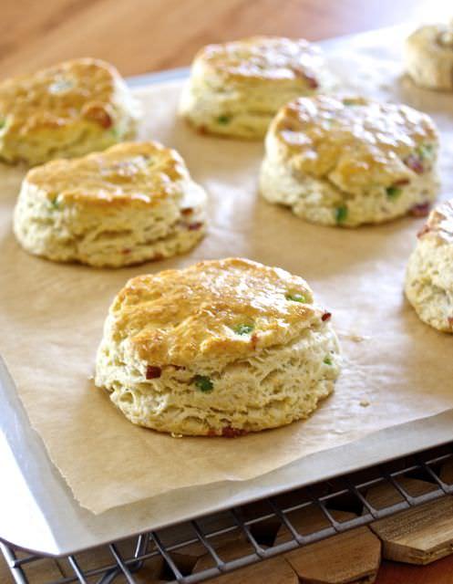 Bacon scones on a baking sheet