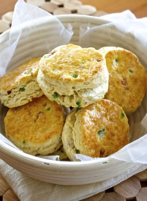 Close up of bacon scones in bowl