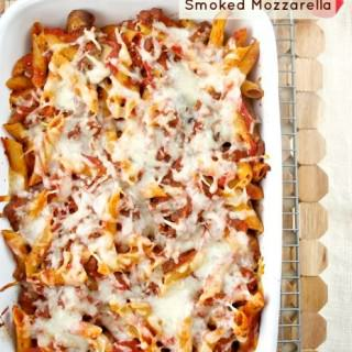 Baked Penne with Meat Sauce and Smoked Mozzarella