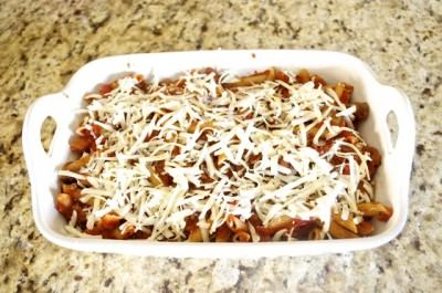 Baked penne before baking
