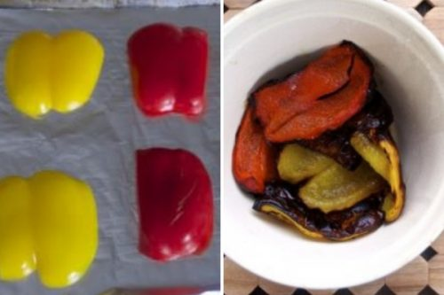 Bell peppers before and after roasting