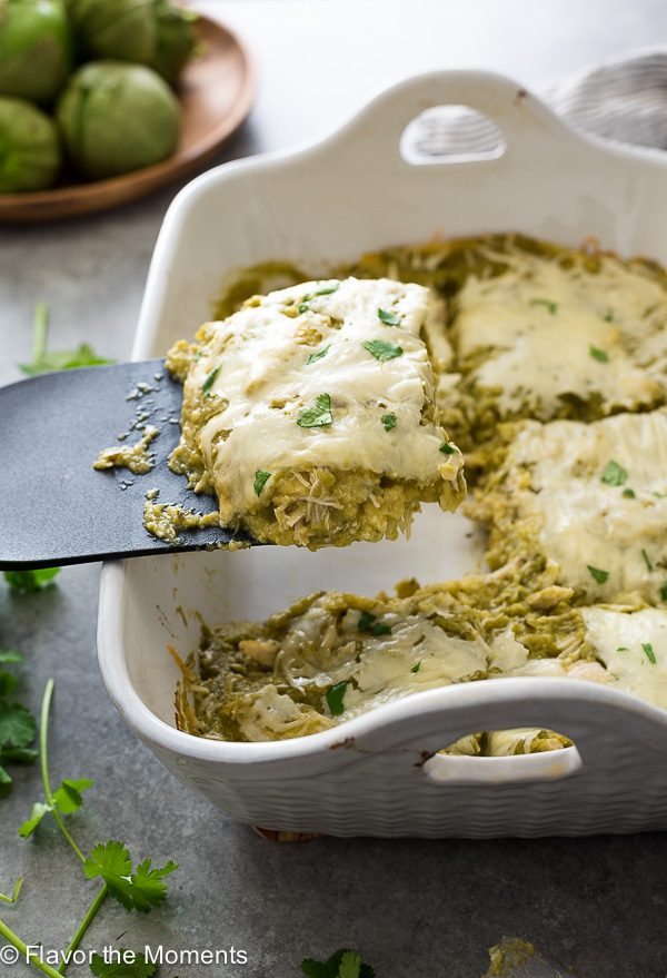 chicken verde enchilada bake spatula