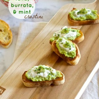 Fava Bean, Burrata, and Mint Crostini