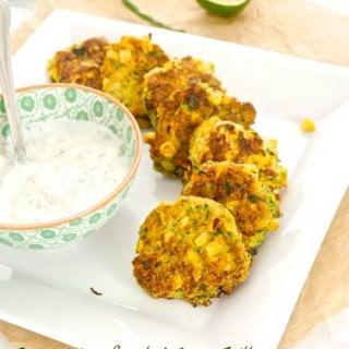 Zucchini and Roasted Corn Fritters with Cilantro Jalapeño Lime Greek Yogurt