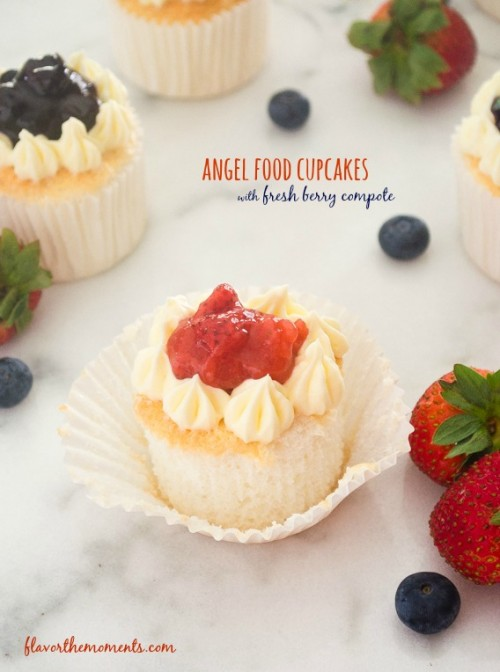 angel food cupcakes with fresh berry compote1 | flavorthemoments.com