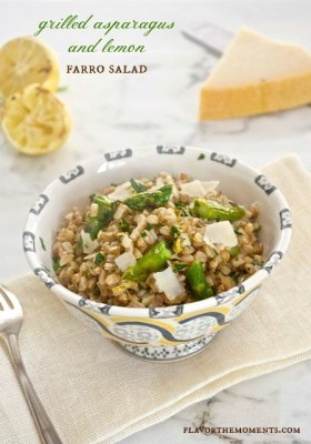grilled asparagus and lemon farro salad1 flavorthemoments.com