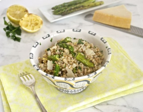 Grilled Asparagus and Lemon Farro Salad {Farmer's Market Friday}