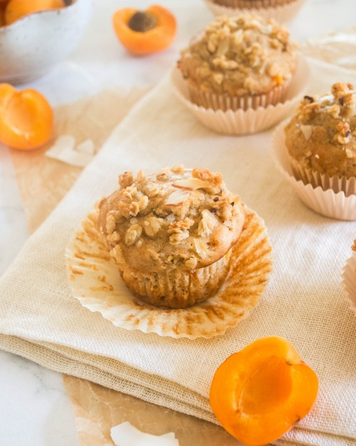 healthier fresh apricot coconut muffins4