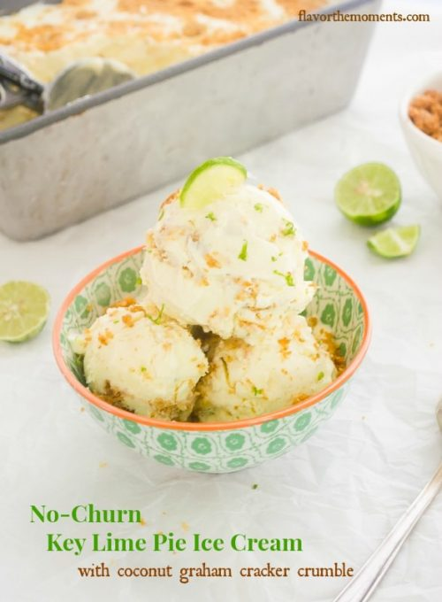 Key lime pie ice cream in bowl with lime on top