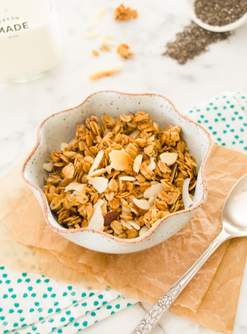 Honey almond granola with coconut flakes