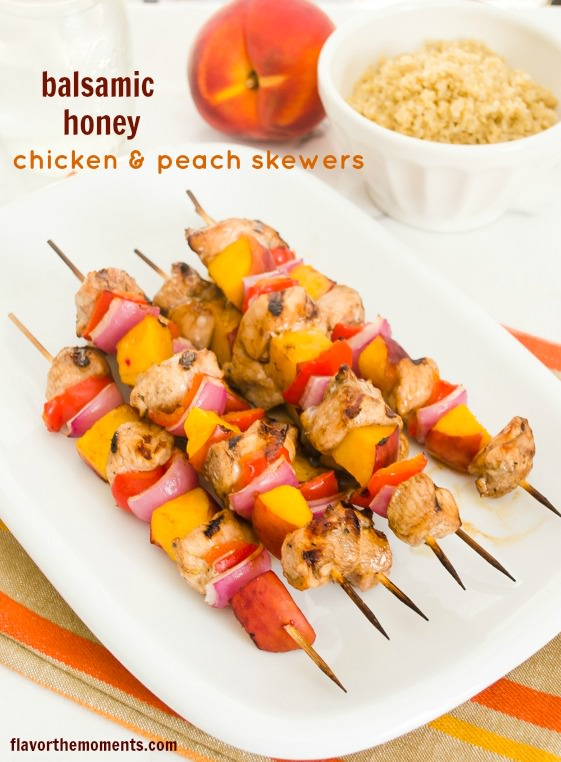 Chicken Peach Skewers are balsamic honey marinated chicken breasts ...